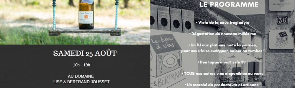 Samedi 25 août retrouvez-nous à Montlouis, aux portes ouvertes de Lise et Bertrand Jousset